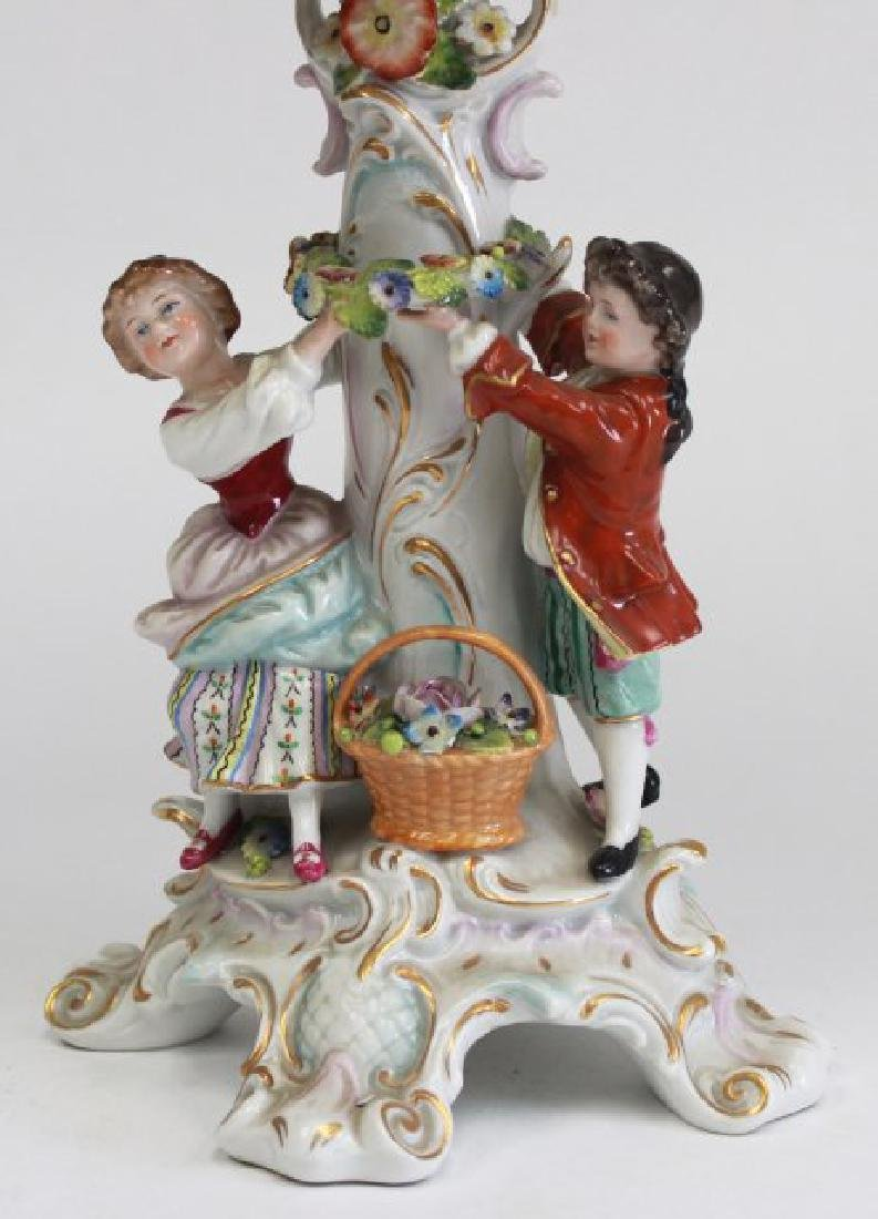 Porcelain Figural Dresden Type Centerpiece - 2
