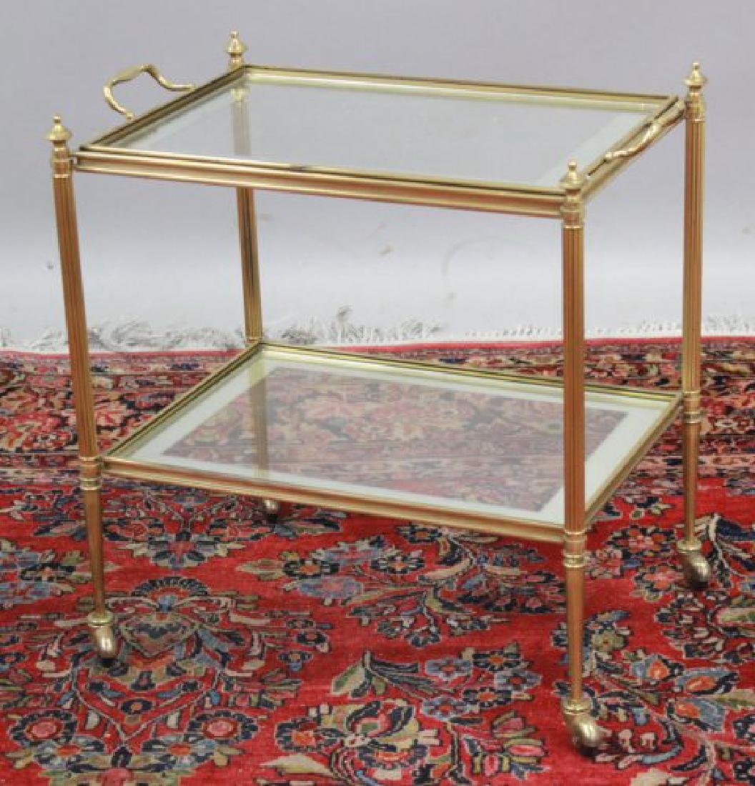 2-Tier Glass & Brass Tea Cart