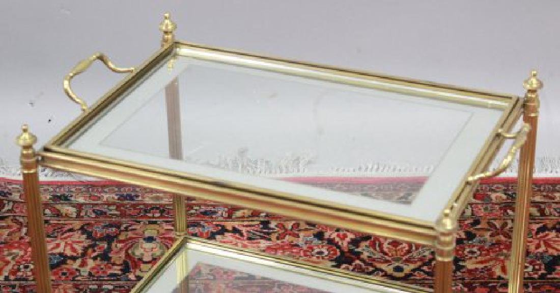 2-Tier Glass & Brass Tea Cart - 2