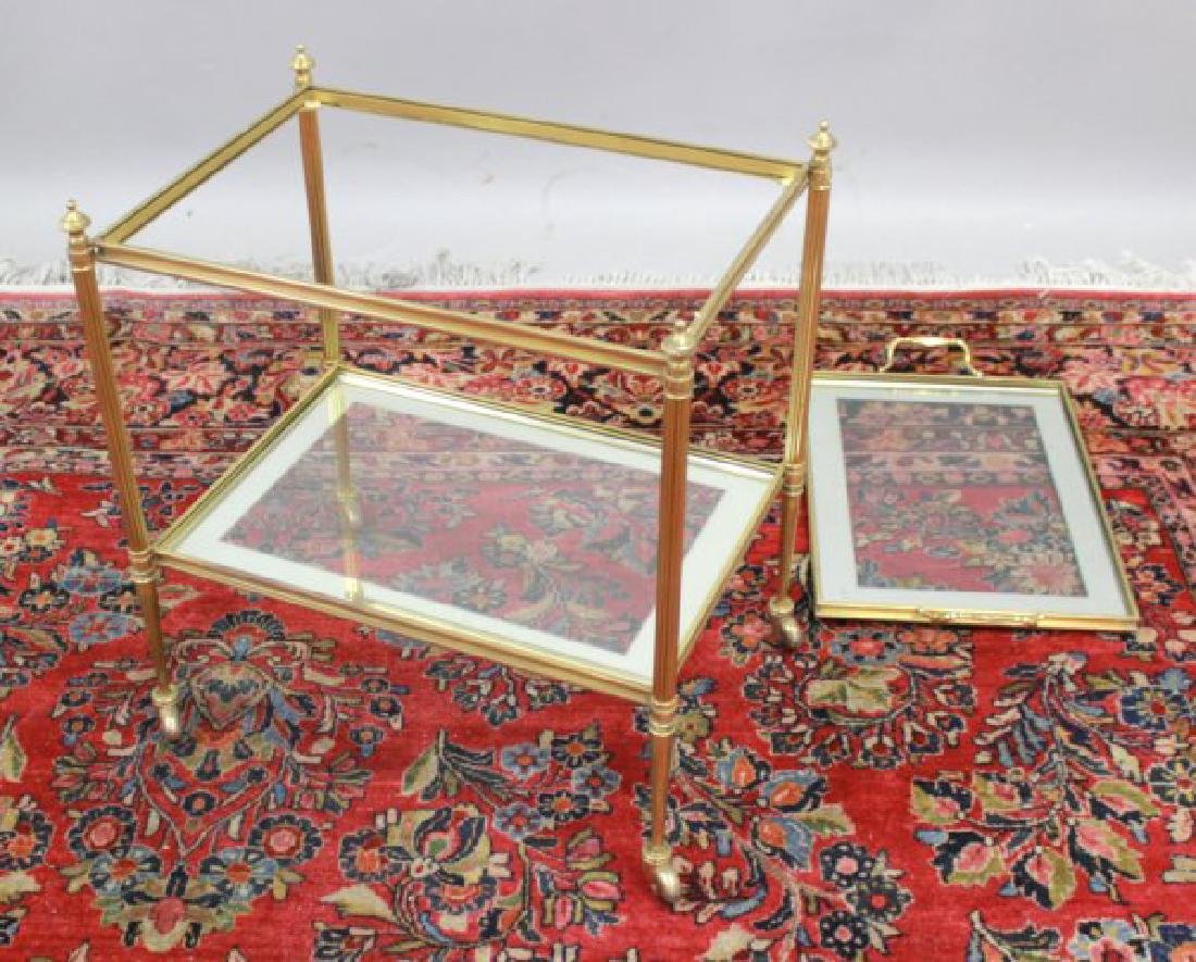 2-Tier Glass & Brass Tea Cart - 3