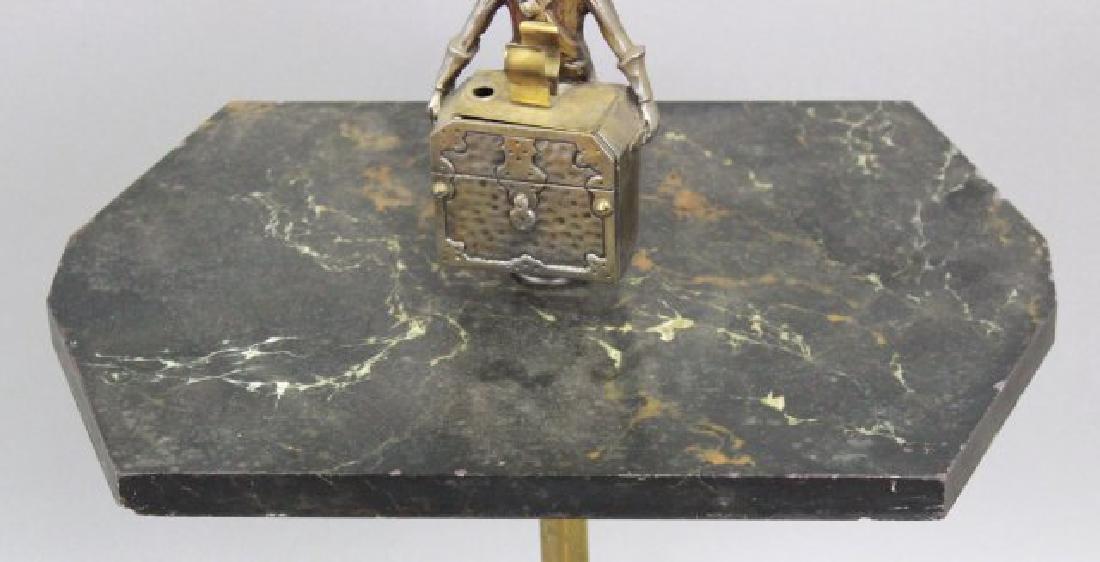 Art Deco Metal & Marble Smoke Stand - 4