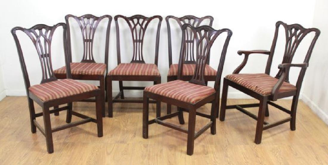 Set 6 Mahogany Chippendale Chairs
