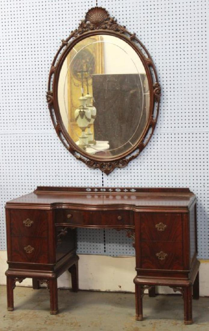 Mahogany Chippendale Vanity w/ Carved Oval Mirror