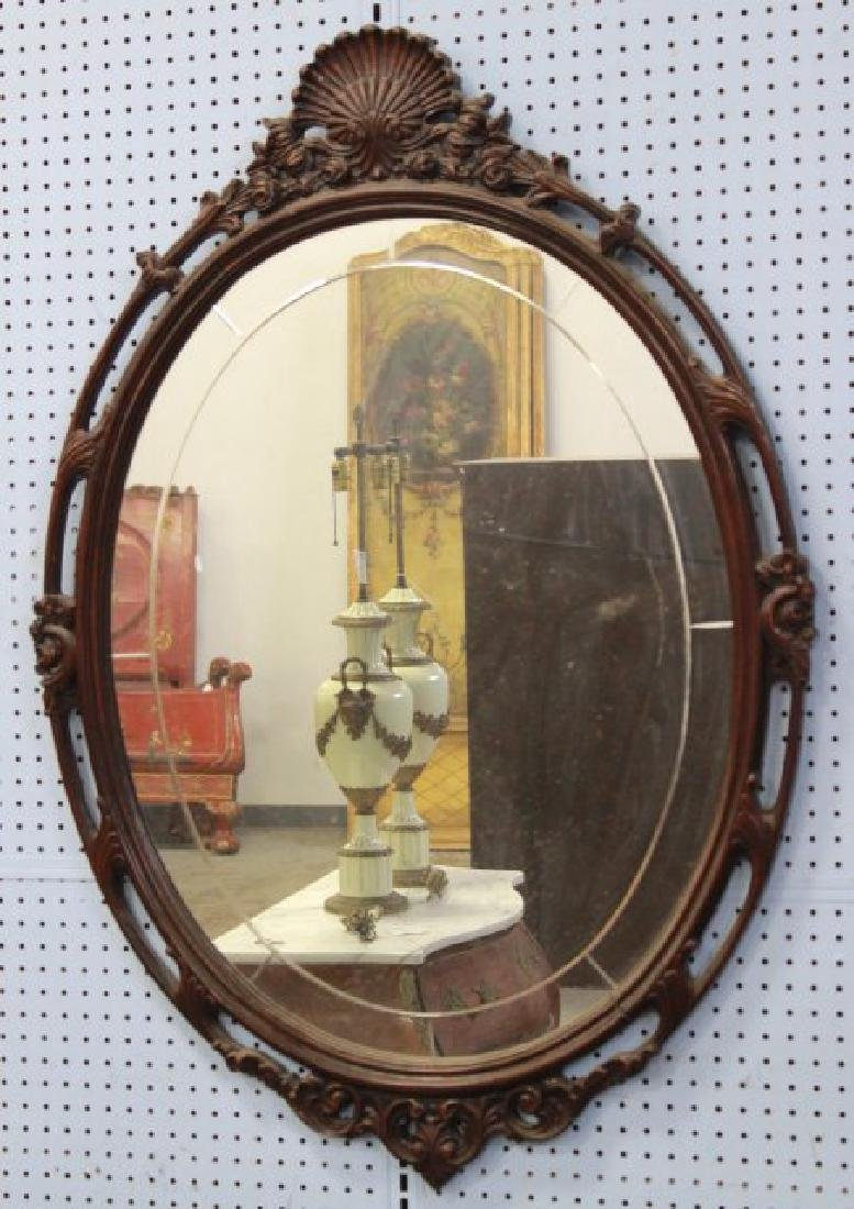 Mahogany Chippendale Vanity w/ Carved Oval Mirror - 5