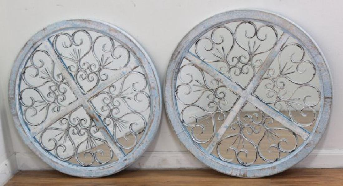 :Pair Wood & Metal Framed Round Mirrors