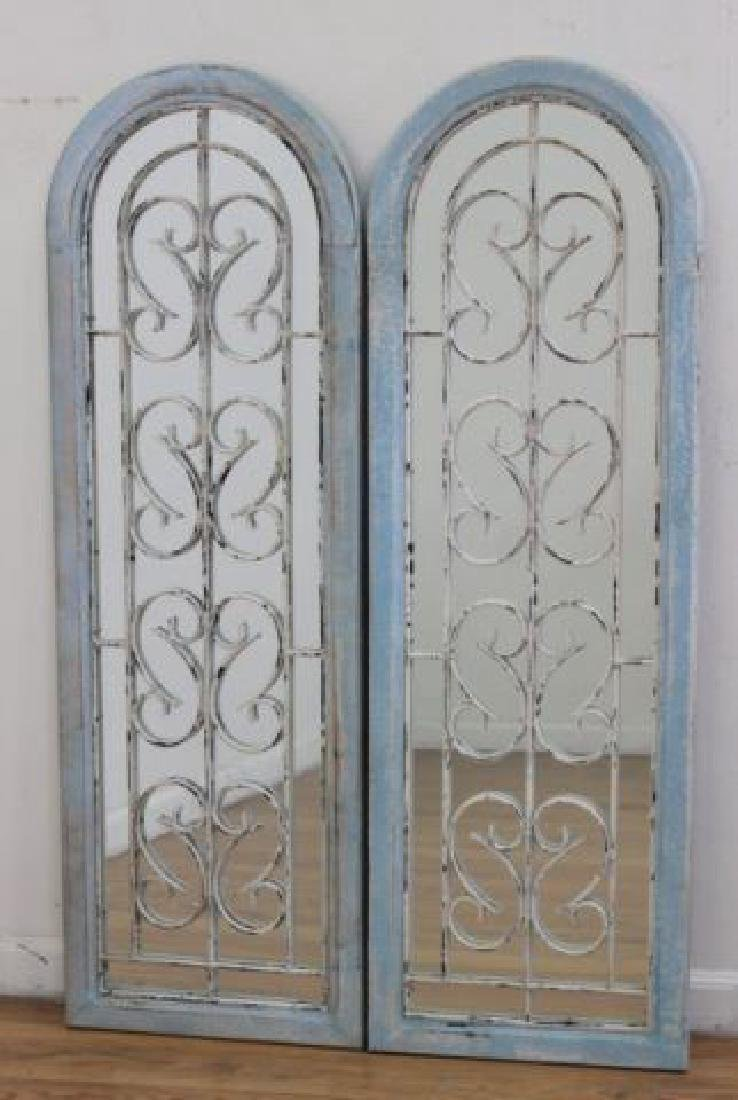 :Pair Metal & Wood Framed Arch-Shaped Mirrors