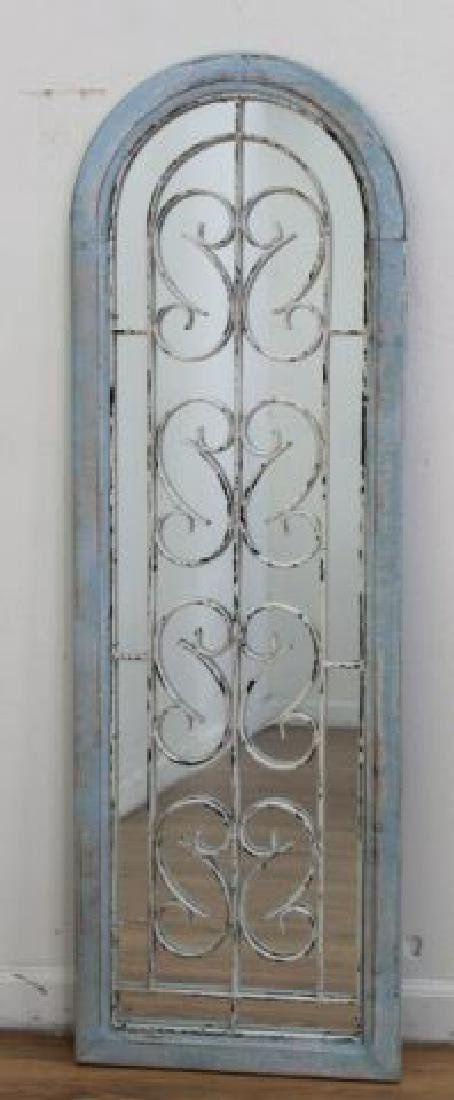 :Pair Metal & Wood Framed Arch-Shaped Mirrors - 2