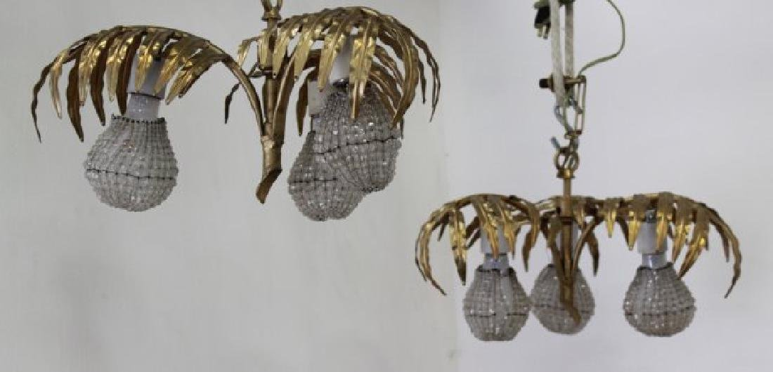 Pair 3-Light Gilt Metal Fern-Shaped Hall Lights