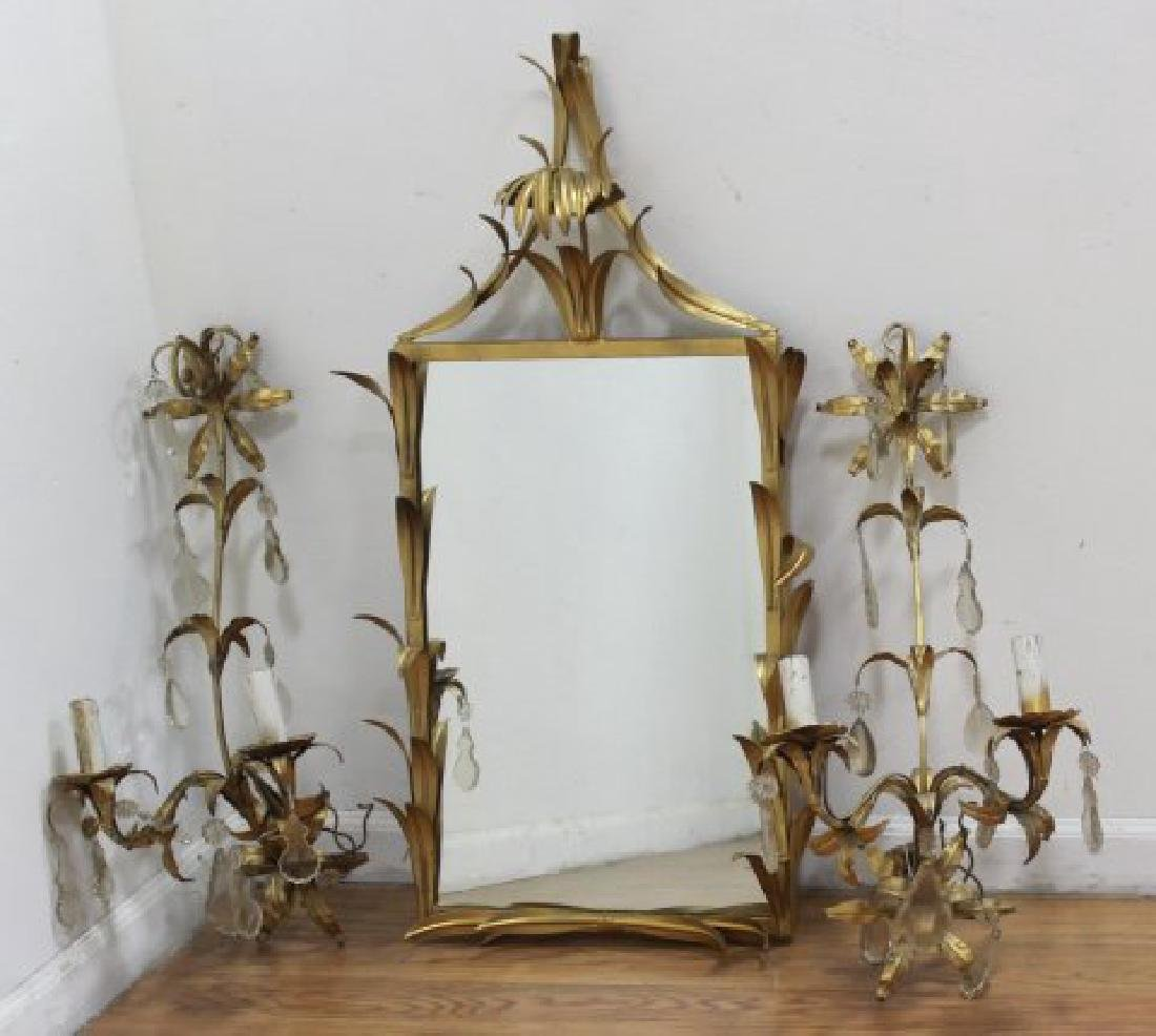 Pair Gilt Metal 2-Arm Sconces & Matched Mirror