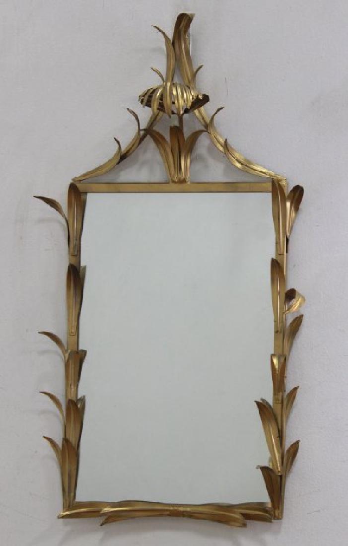 Pair Gilt Metal 2-Arm Sconces & Matched Mirror - 2