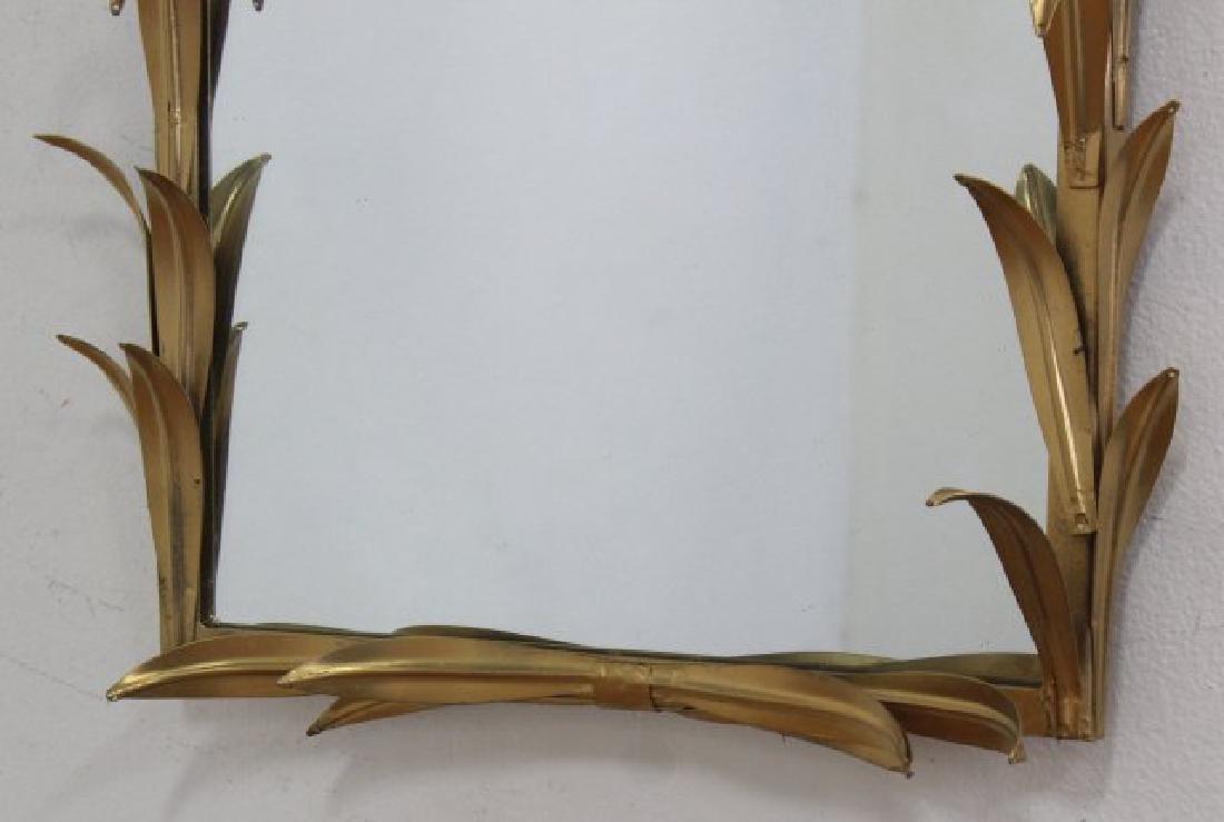 Pair Gilt Metal 2-Arm Sconces & Matched Mirror - 4