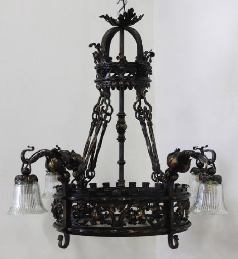 Gothic Style Wrought Iron 8-Light Chandelier