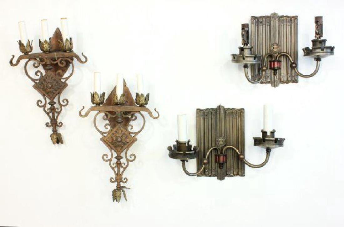 :2 Pairs Art Deco Patinated Metal Sconces