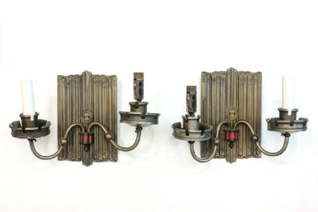 :2 Pairs Art Deco Patinated Metal Sconces - 2