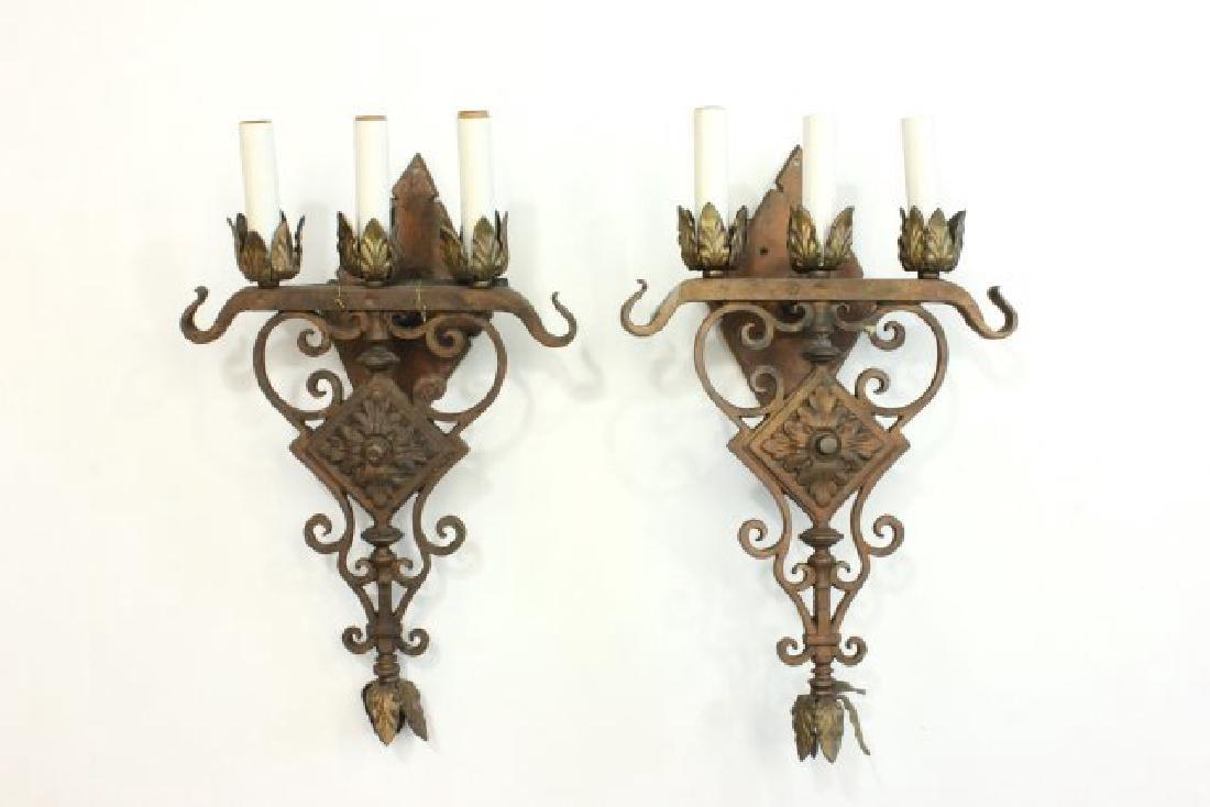 :2 Pairs Art Deco Patinated Metal Sconces - 3