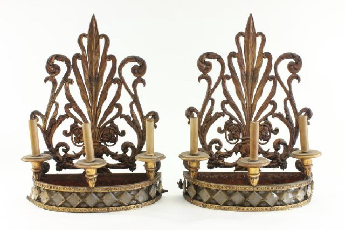 :Pair Gilt Metal & Crystal Planters/Sconces