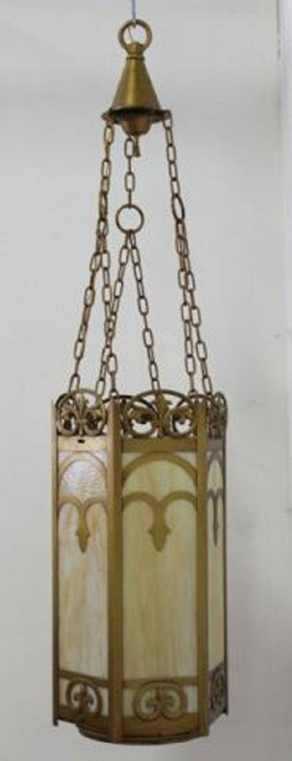 :6-Panel Stained Glass Art Deco Chandelier