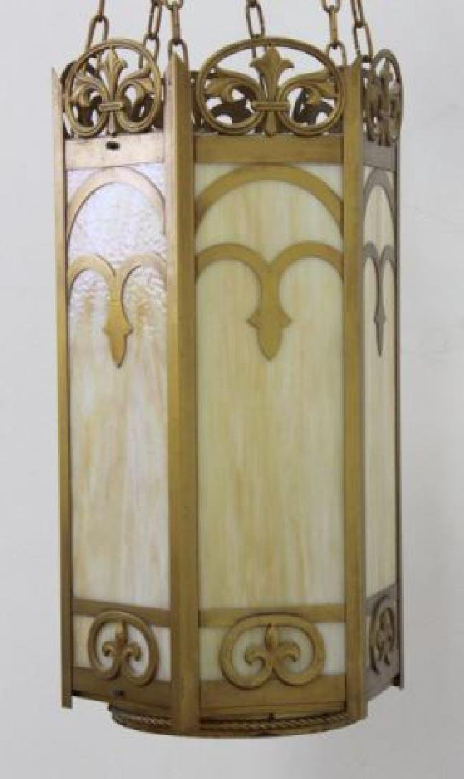 :6-Panel Stained Glass Art Deco Chandelier - 2