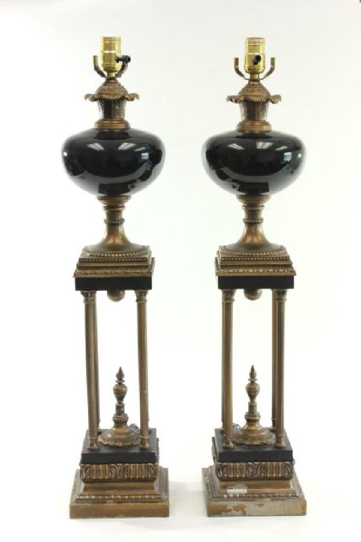 Pair Column Lamps