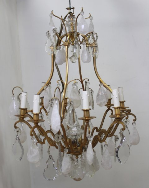 French Brass & Rock Crystal 8-Light Chandelier