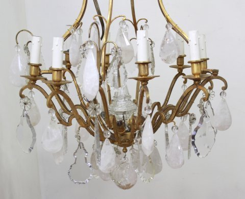 French Brass & Rock Crystal 8-Light Chandelier - 2