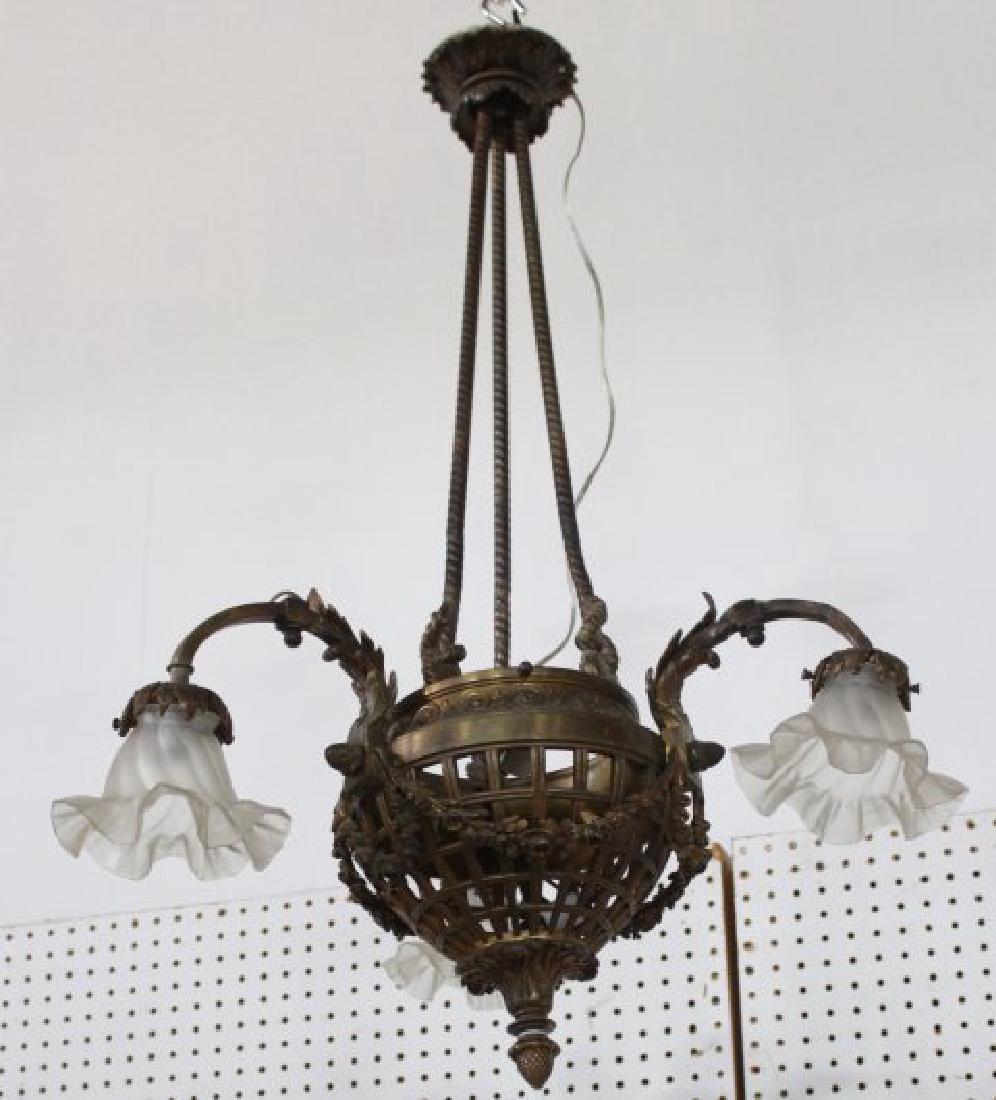 Bronze 3-Armed Louis XV Style Chandelier