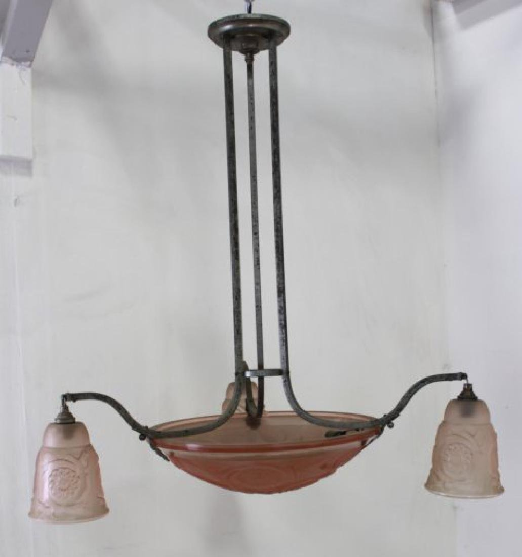 Art Deco Etched Pink Glass & Chrome Chandelier - 3