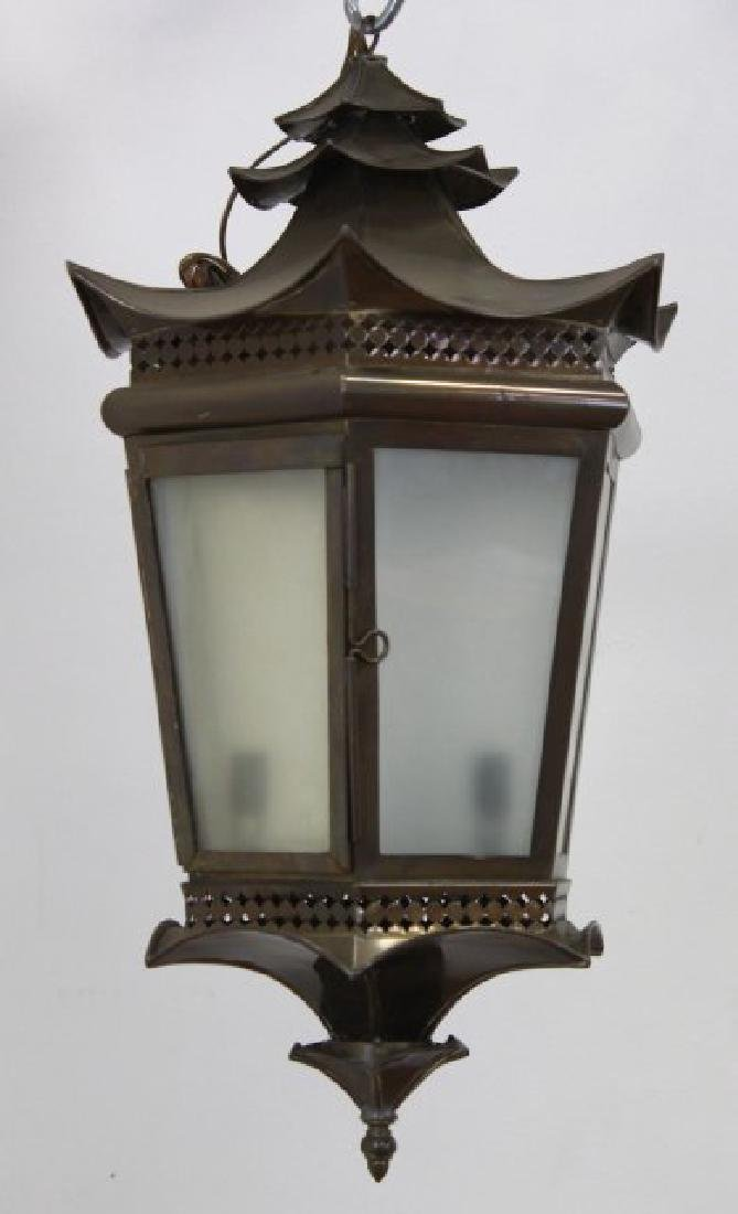 Chinoiserie Style Brass Hall Lantern