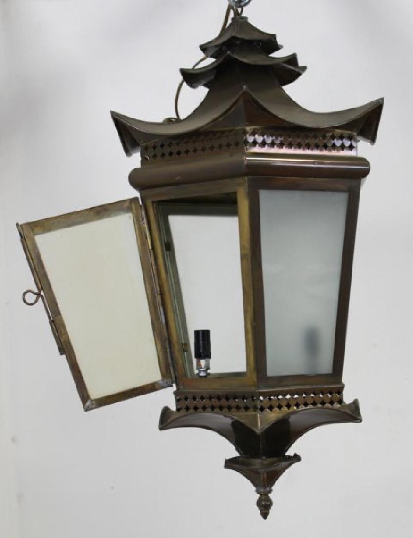 Chinoiserie Style Brass Hall Lantern - 2