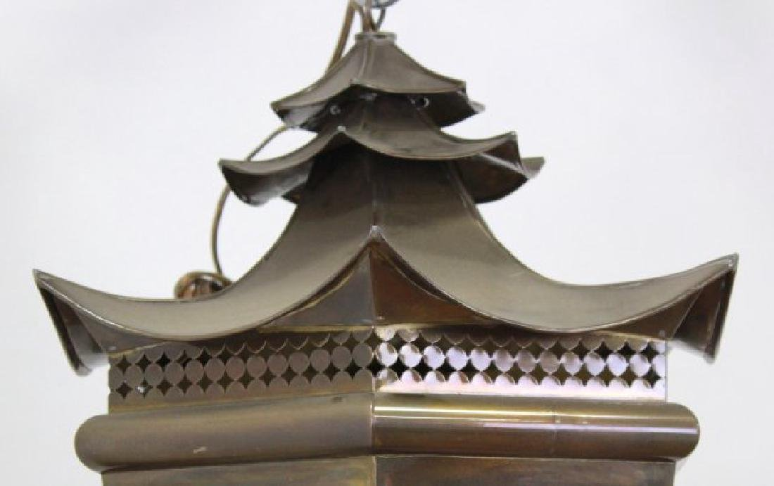 Chinoiserie Style Brass Hall Lantern - 3