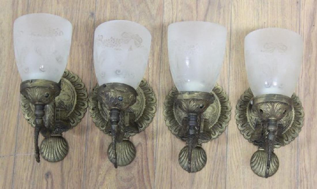Set 4 Cast Brass Dolphin Form Wall Lights