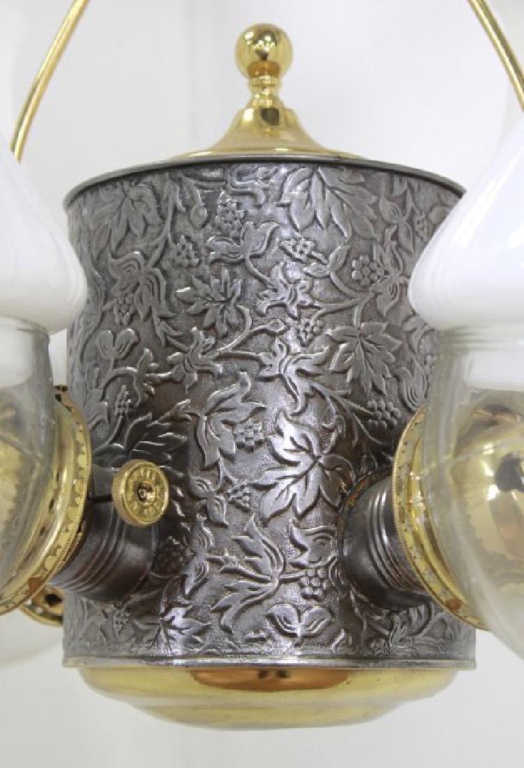 American Victorian Brass & Tin Angel Lamp - 3