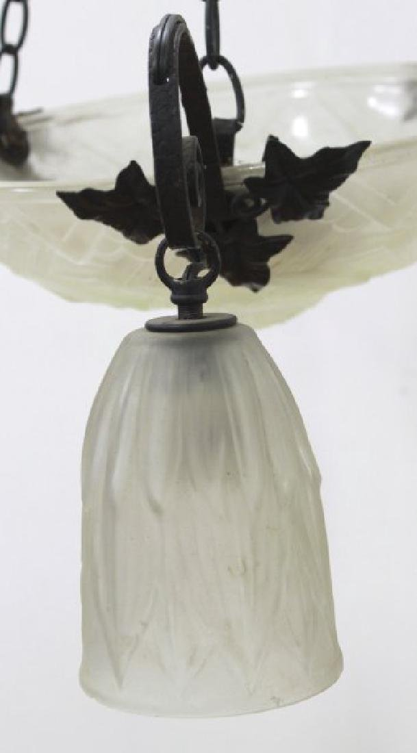 Art Deco Frosted Glass & Wrought Iron Chandelier - 2