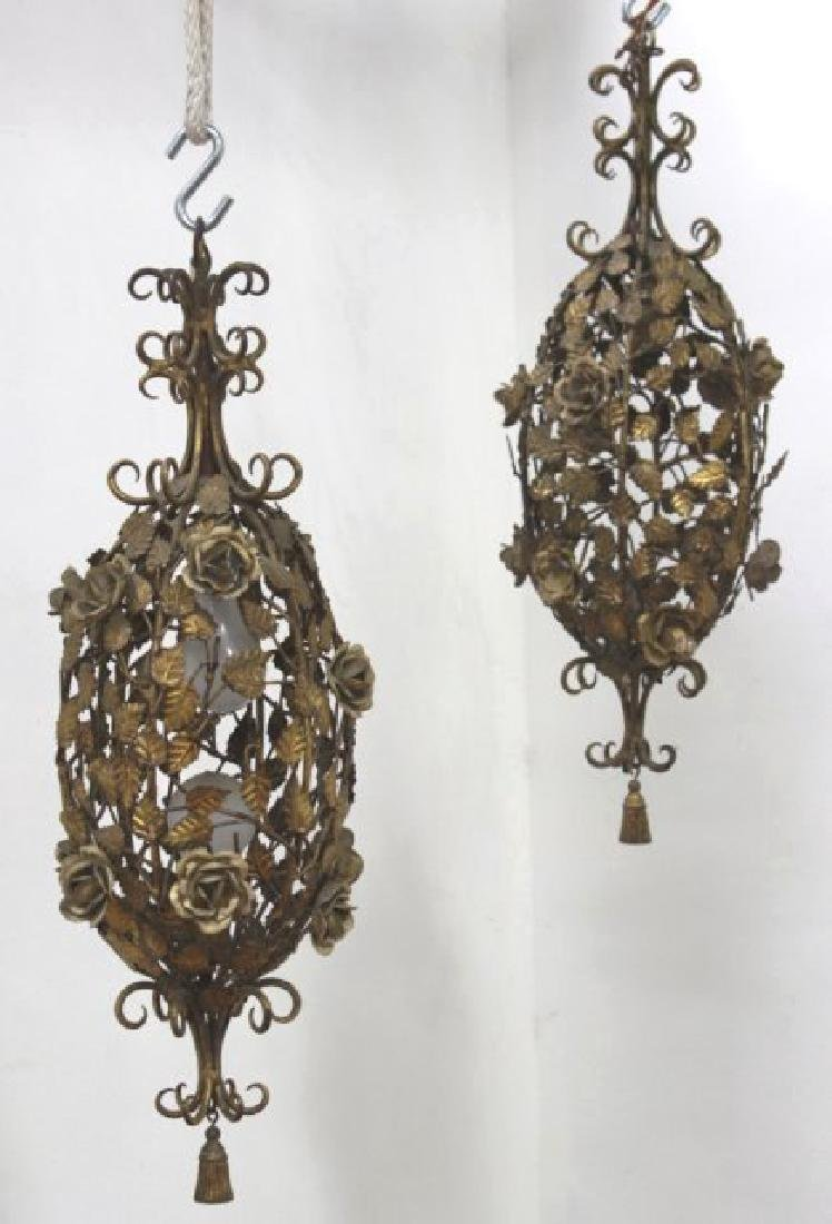 Pair Italian Rococo Style & Foliate Lanterns