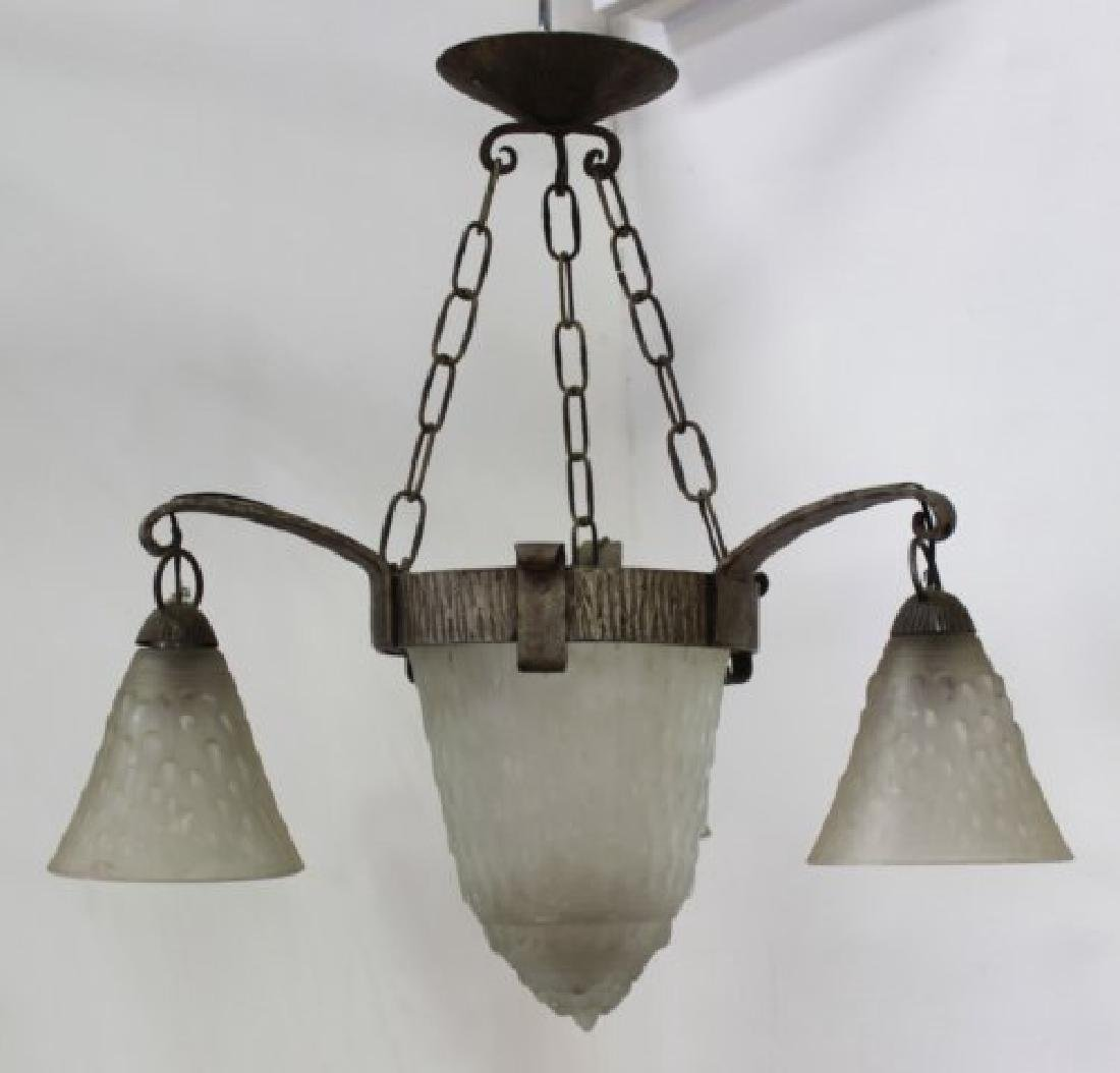 Art Deco Frosted Glass & Wrought Iron Chandelier
