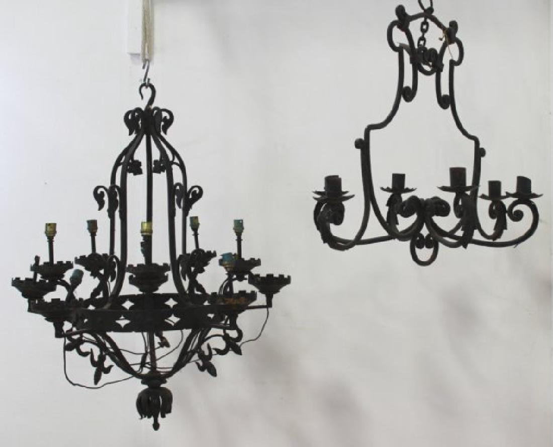 2 Rococo Style Wrought Iron Chandeliers