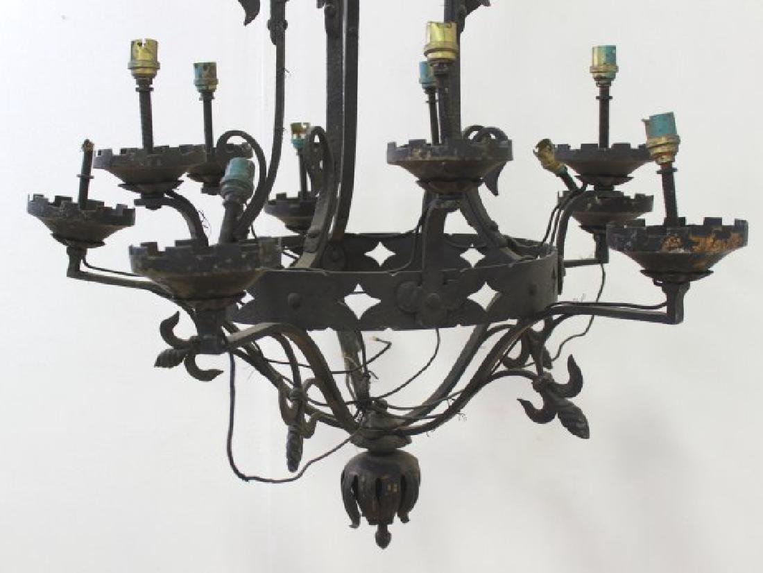 2 Rococo Style Wrought Iron Chandeliers - 3