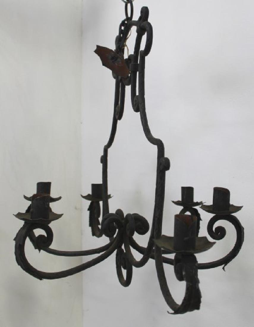 2 Rococo Style Wrought Iron Chandeliers - 5