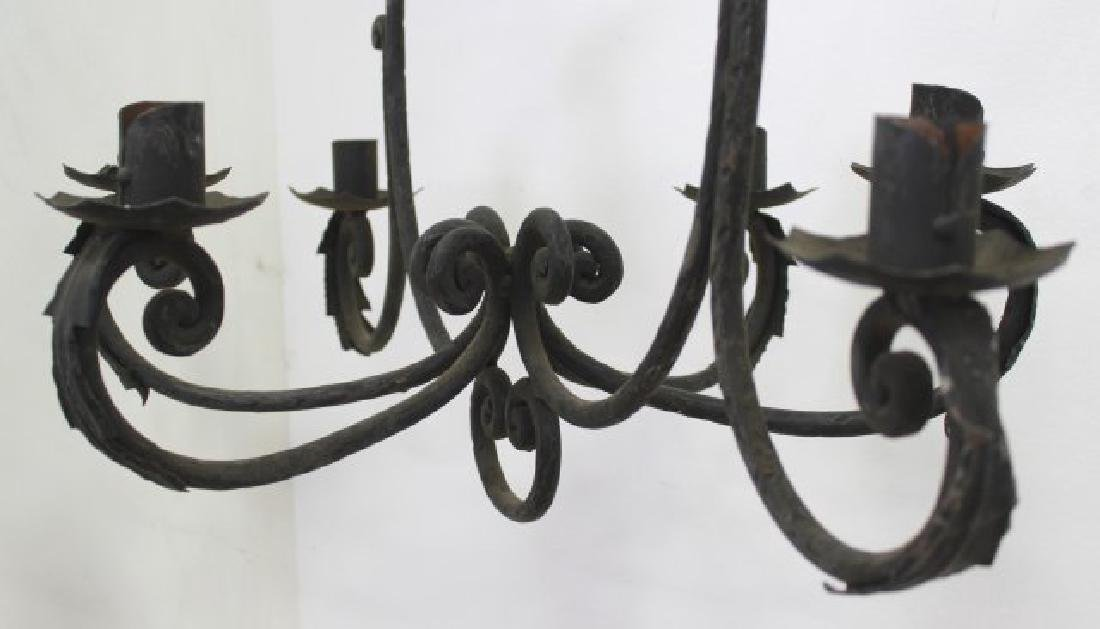 2 Rococo Style Wrought Iron Chandeliers - 6