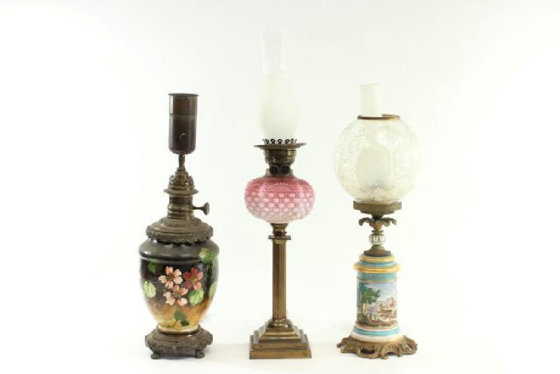 3 Victorian Ceramic & Glass Oil Lamps