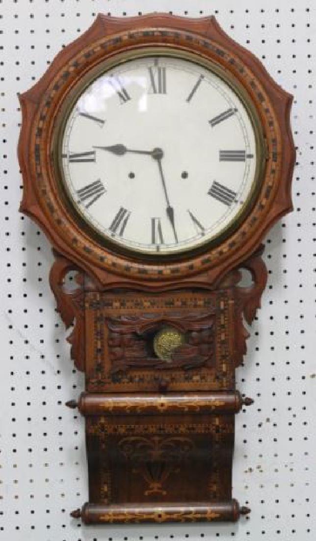 :Dutch Marquetry Inlaid 19th Century Wall Clock