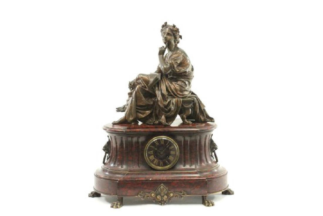 :Bronze & Marble Figural French Mantel Clock