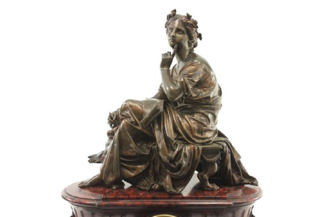 :Bronze & Marble Figural French Mantel Clock - 2