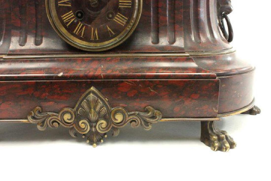 :Bronze & Marble Figural French Mantel Clock - 5