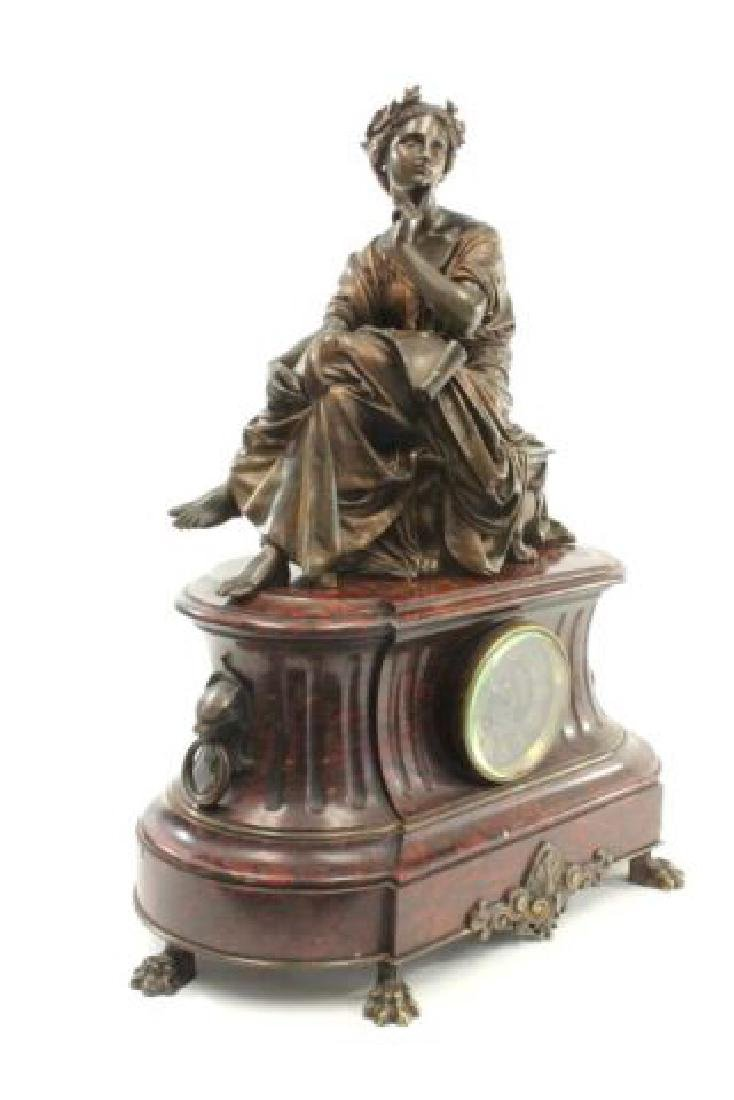:Bronze & Marble Figural French Mantel Clock - 7