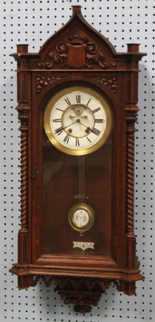 Victorian Oak Gothic Style Wall Clock