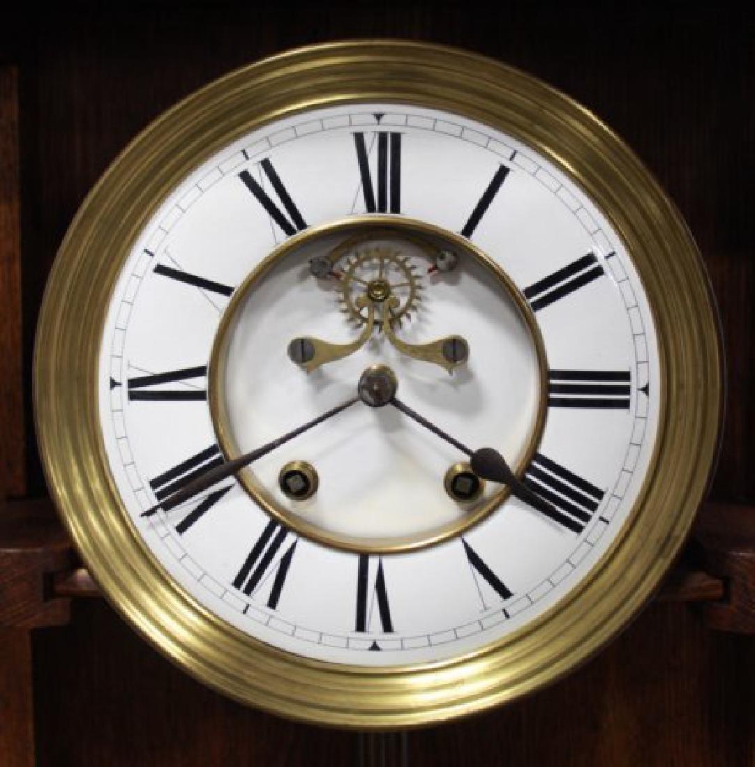 Victorian Oak Gothic Style Wall Clock - 2