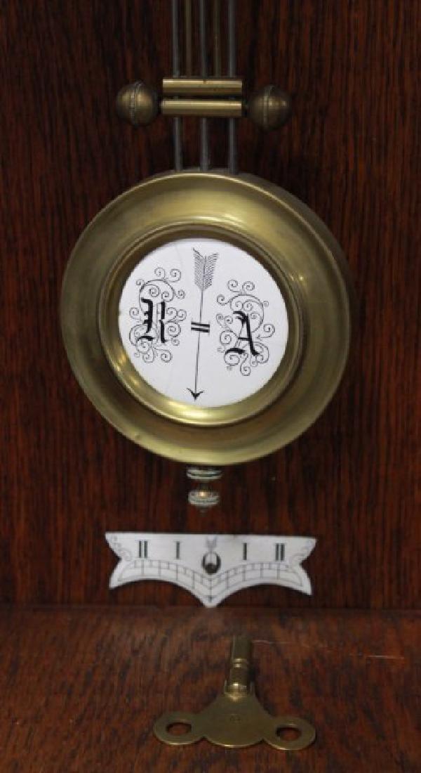 Victorian Oak Gothic Style Wall Clock - 3