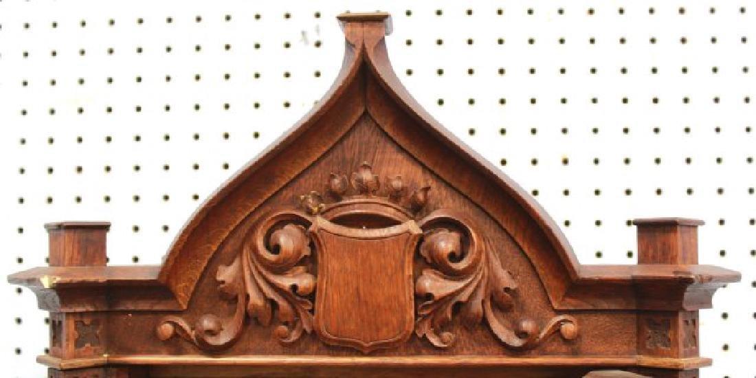 Victorian Oak Gothic Style Wall Clock - 4