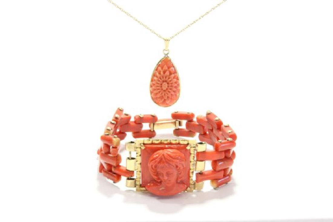 Carved Coral Bracelet & Pendant on Gold Chain